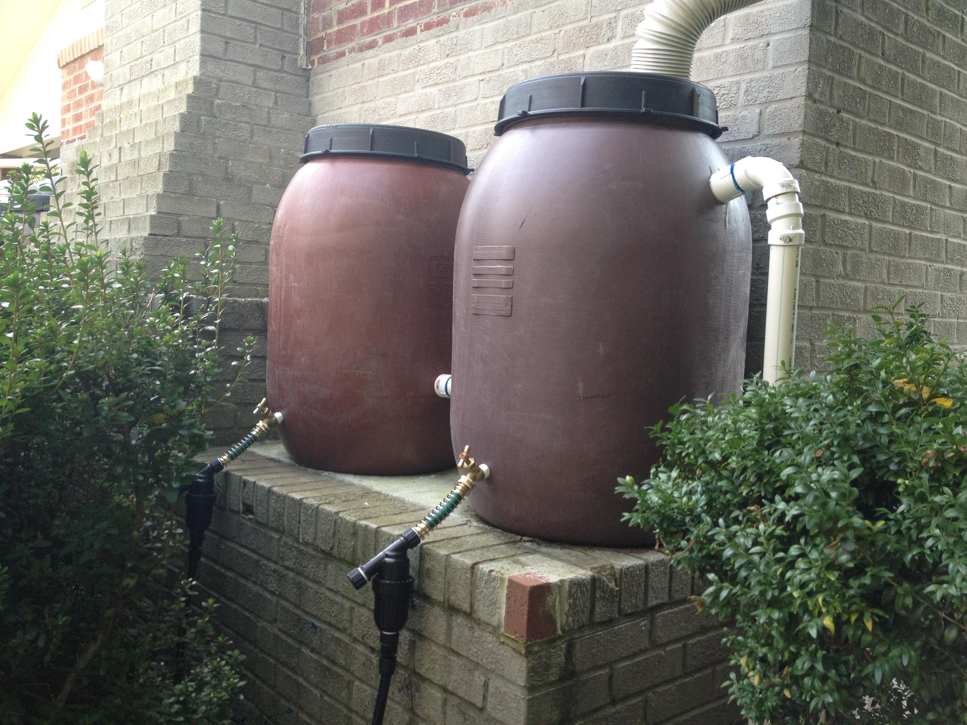 Dual rain barrels