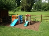 Mulched play area for a family's young children